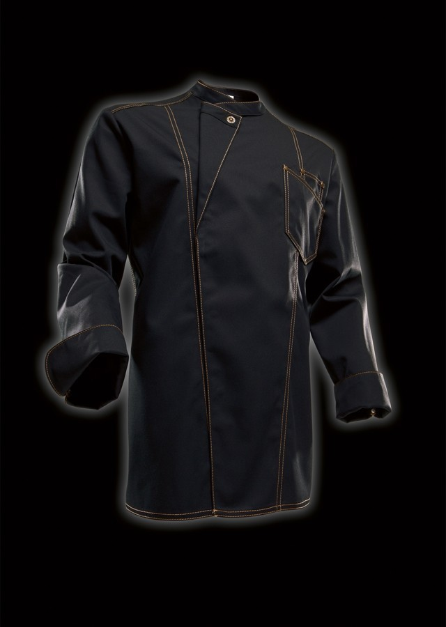 pin veste de cuisine noire liser orange on pinterest - Veste De Cuisine Orange