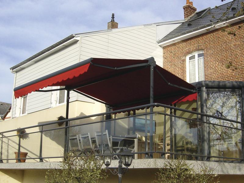 store banne double pente pour terrasse ou jardin b1chezsoi. Black Bedroom Furniture Sets. Home Design Ideas